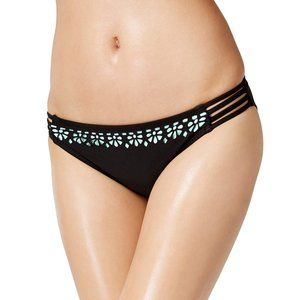 Bikini Nation Black Laser Cut Bikini Bottom Large